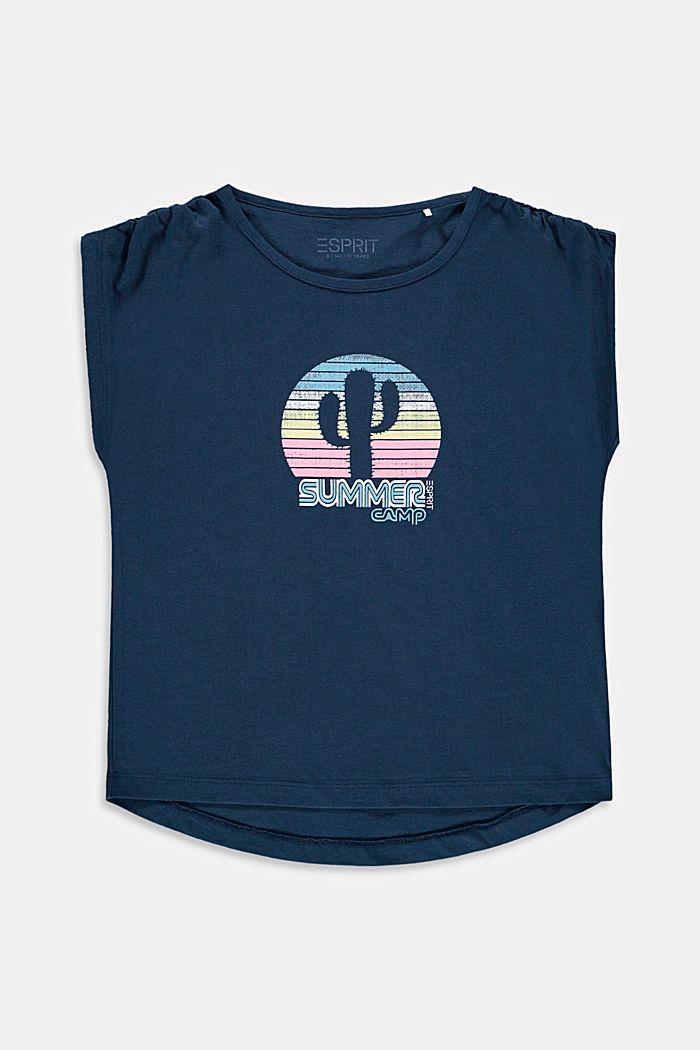 Camiseta con frunces en los hombros y estampado de cactus, PETROL BLUE, detail image number 0