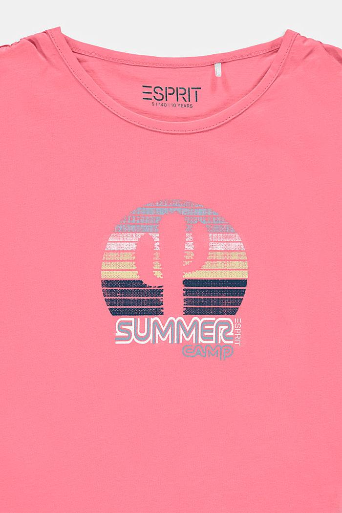 Camiseta con frunces en los hombros y estampado de cactus, PINK, detail image number 2