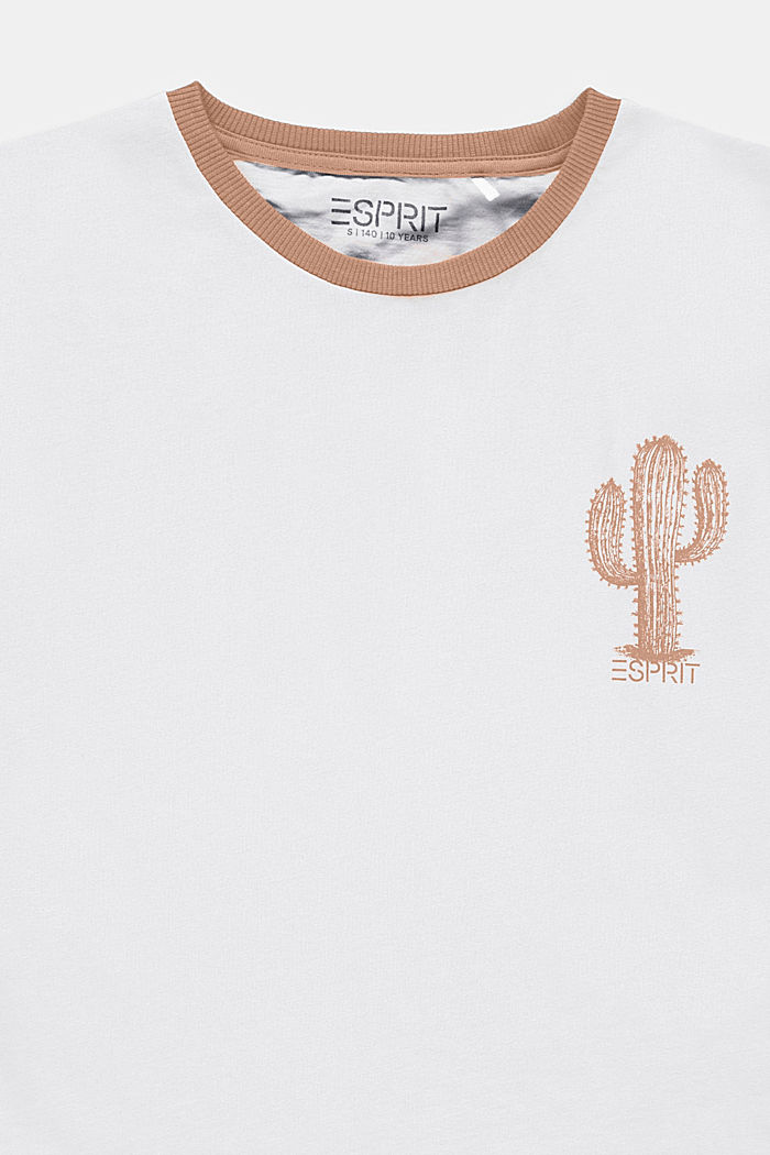 T-shirt con stampa di cactus in 100% cotone, WHITE, detail image number 2
