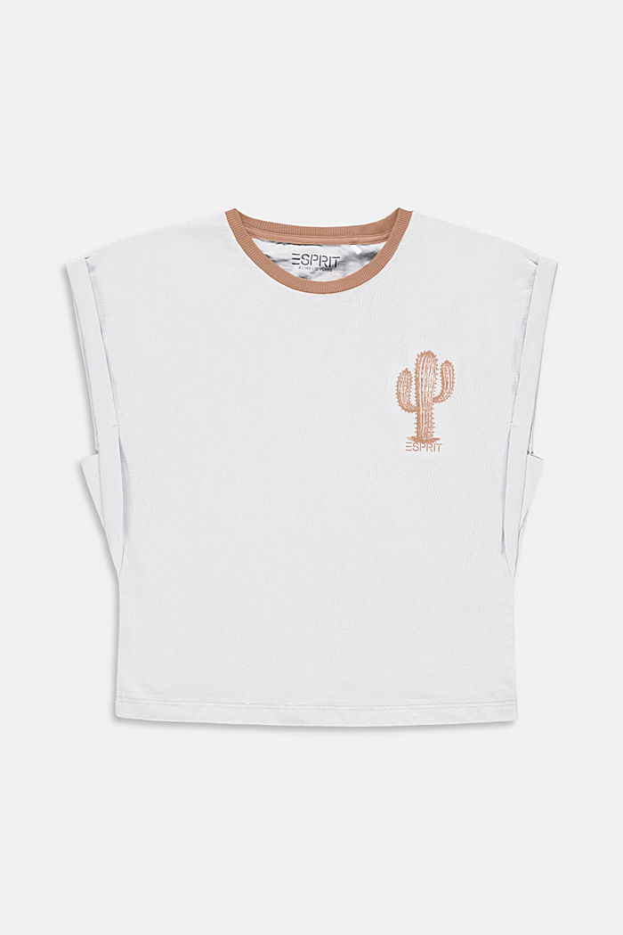 T-shirt con stampa di cactus in 100% cotone, WHITE, detail image number 0
