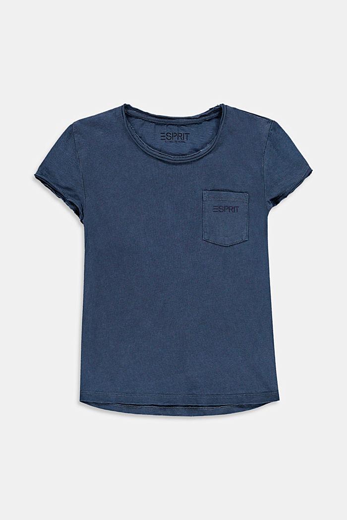 T-Shirt mit lässigen Rollkanten, 100% Baumwolle