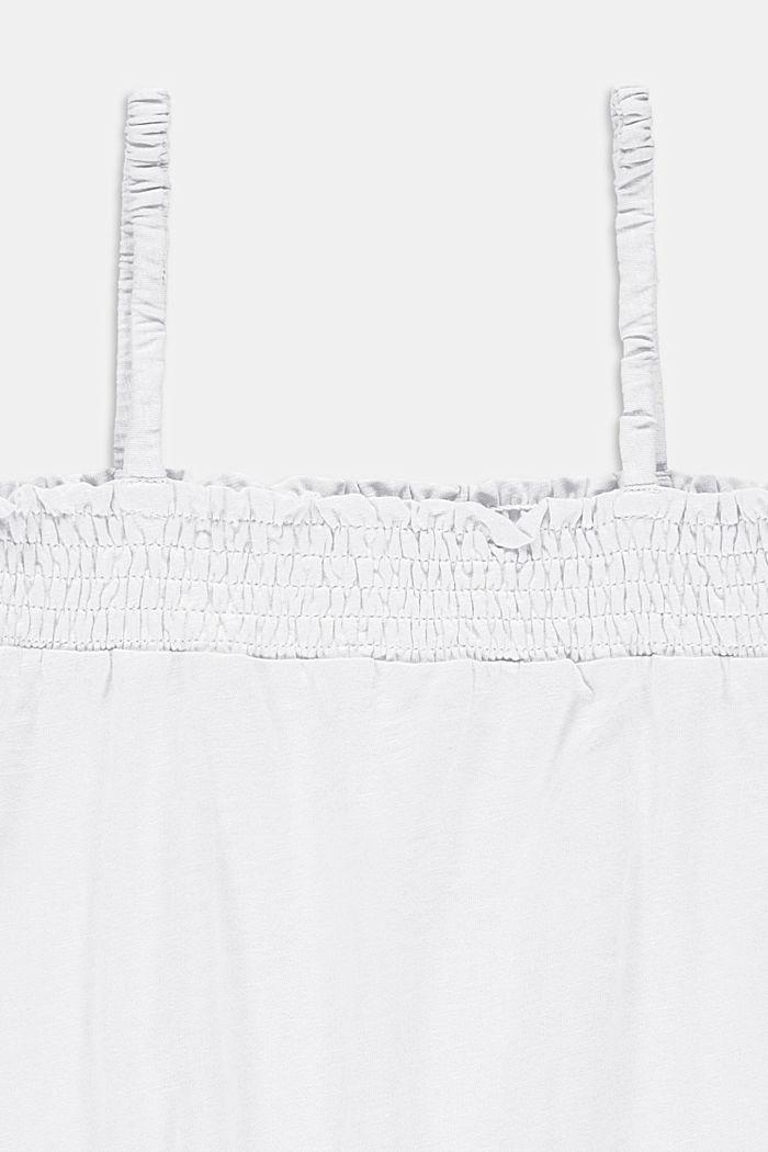 Top met gesmokte boordjes, 100% katoen, WHITE, detail image number 2