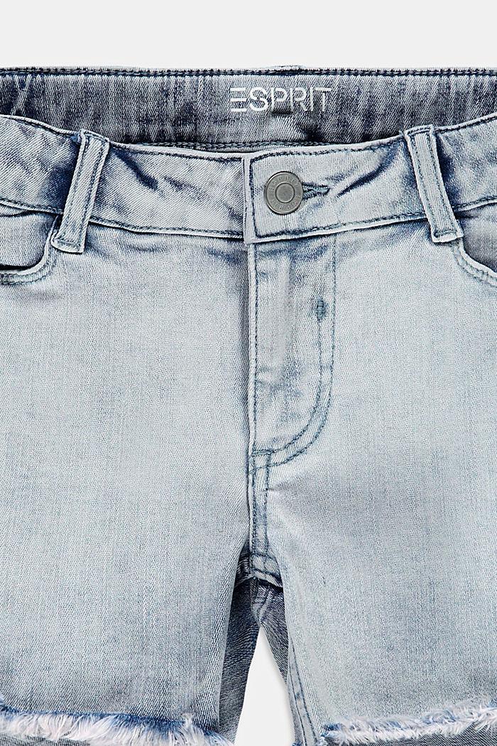 Casual denim short met verstelbare band, BLUE BLEACHED, detail image number 2
