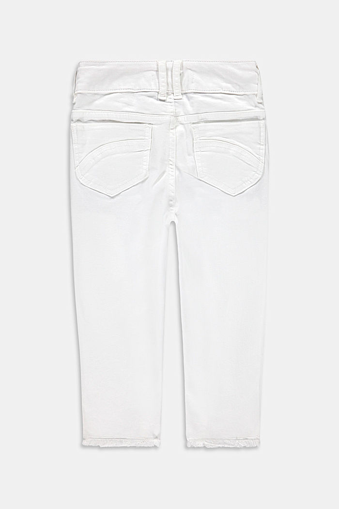 Capris jeans with an adjustable waistband, WHITE, detail image number 1
