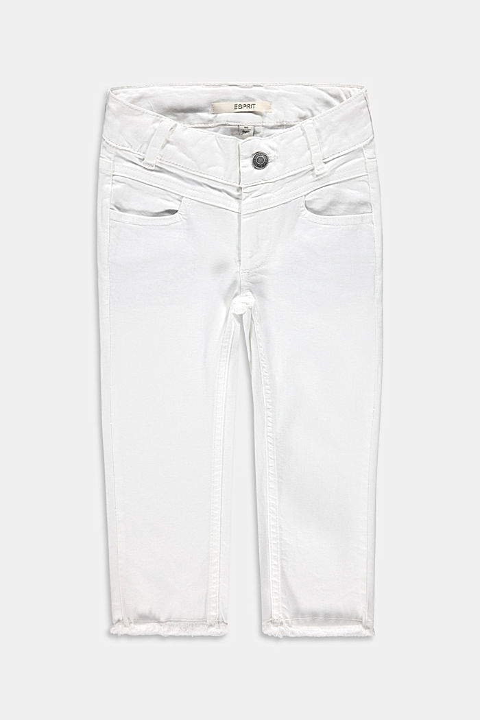 Capris jeans with an adjustable waistband, WHITE, detail image number 0