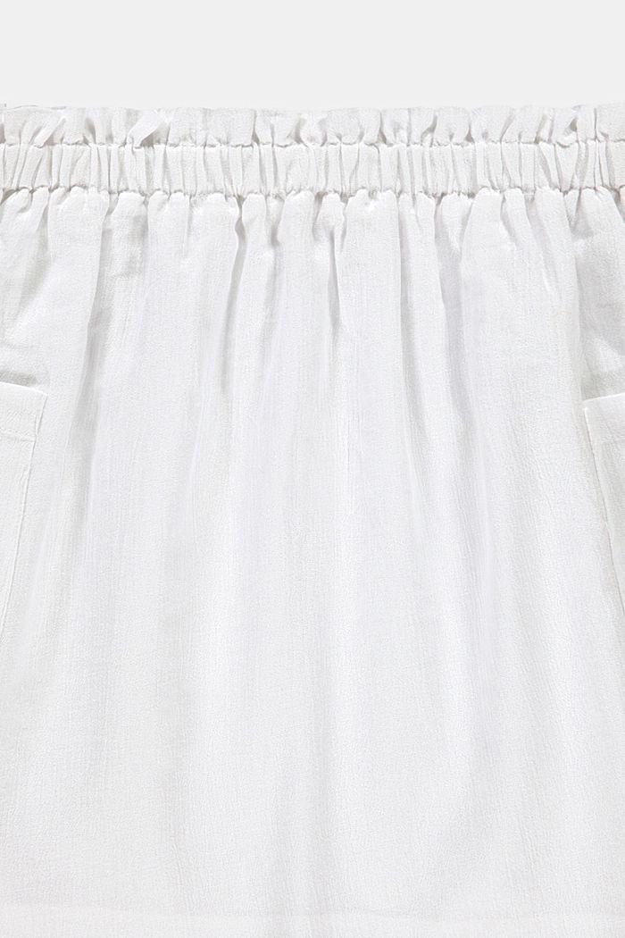 Jupe à taille élastique, 100% coton, WHITE, detail image number 2