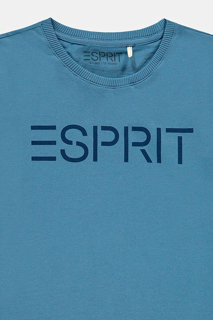 T-shirt met logoprint, 100% katoen, GREY BLUE, detail image number 2