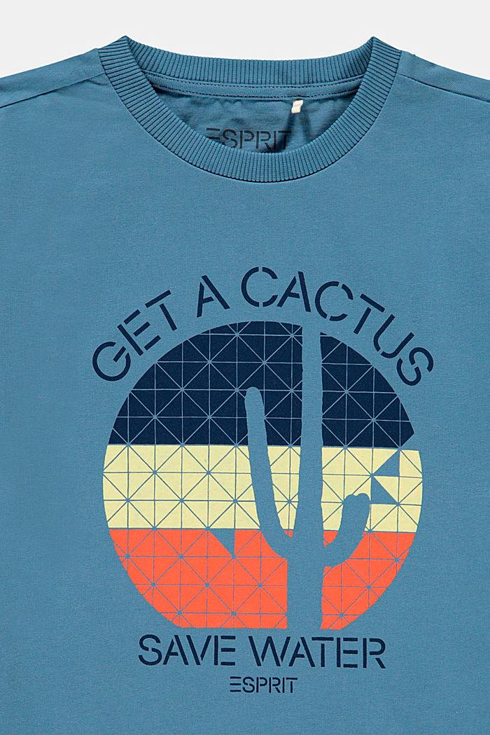 T-shirt z napisem, 100% bawełny, GREY BLUE, detail image number 2