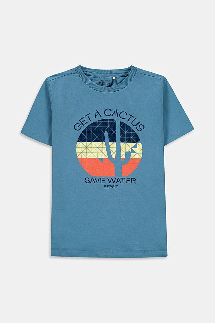 T-shirt z napisem, 100% bawełny, GREY BLUE, detail image number 0