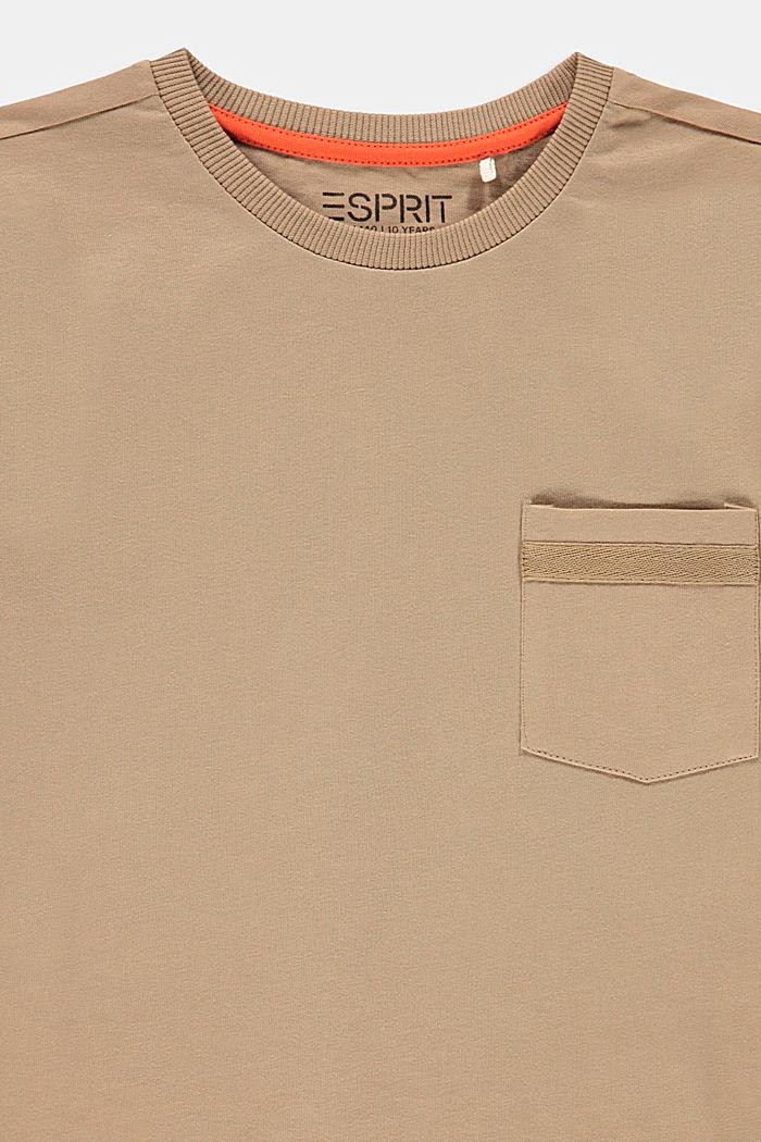 Camiseta con bolsillo en el pecho, 100% algodón, CAMEL, detail image number 2