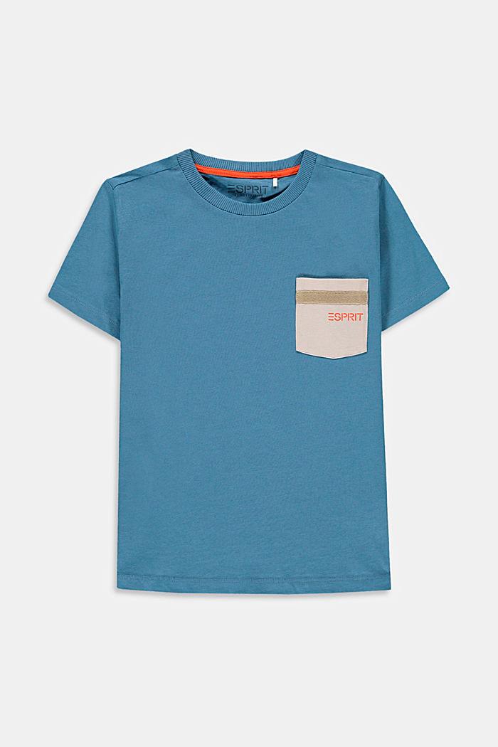 Camiseta con bolsillo en el pecho, 100% algodón, GREY BLUE, detail image number 0