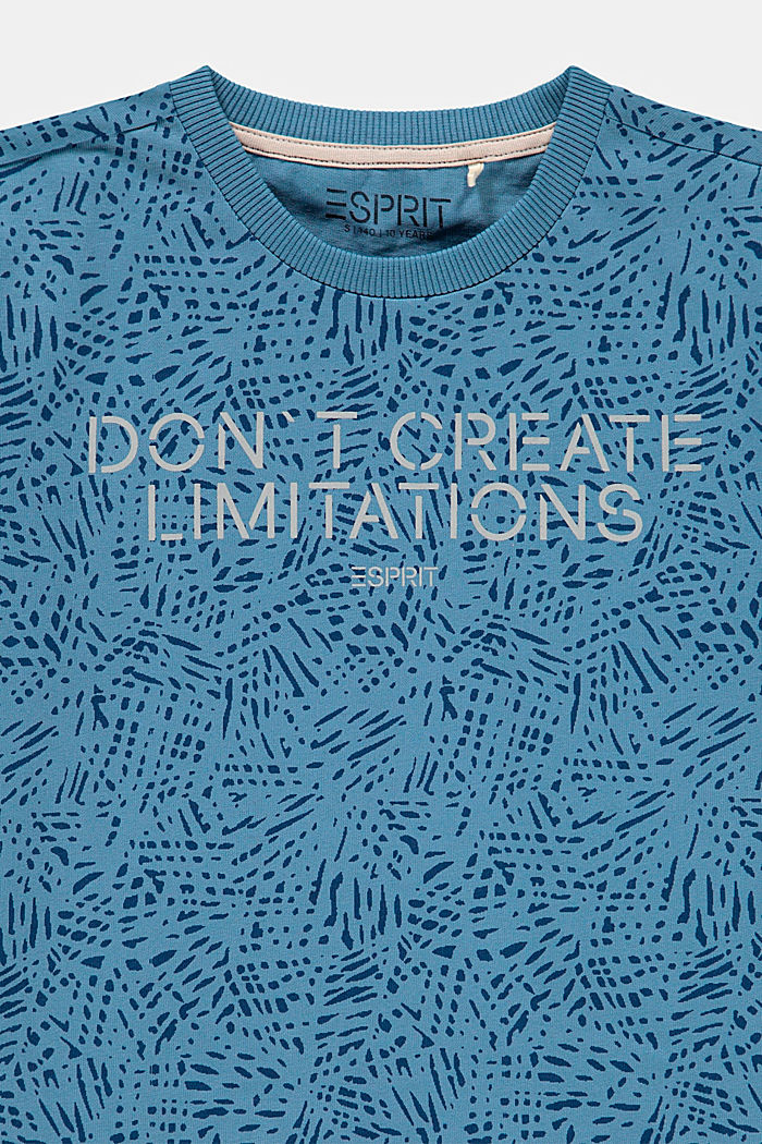 T-shirt with a statement print, 100% cotton, GREY BLUE, detail image number 2