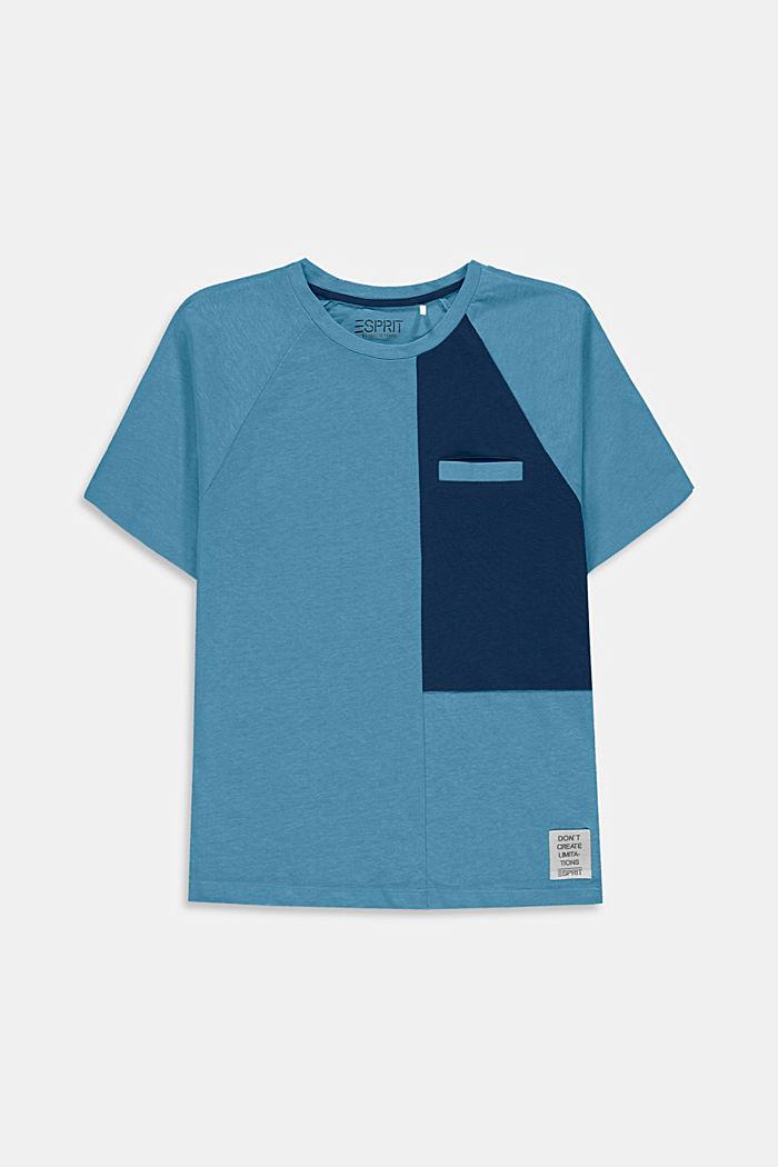 Mit Leinen: oversized Color Block T-Shirt, GREY BLUE, detail image number 0