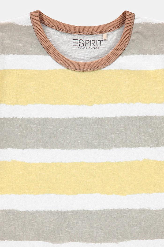 T-Shirt im Streifen-Look, 100% Baumwolle, DARK PURPLE MELANGE, detail image number 2