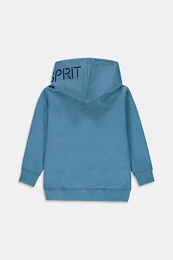 Zip-up hoodie with a logo print, 100% cotton, GREY BLUE, detail image number 1