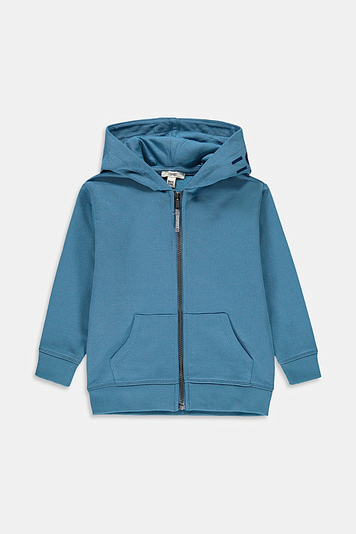 Zip-up hoodie with a logo print, 100% cotton, GREY BLUE, detail image number 0