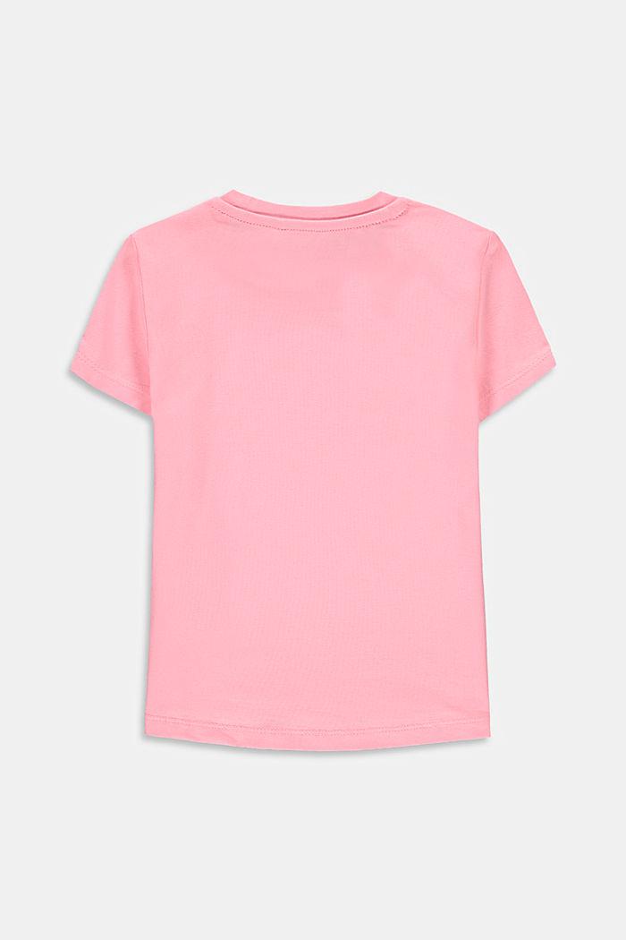 Logowany T-shirt z bawełny ze streczem, LIGHT PINK, detail image number 1