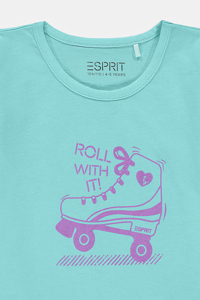 Cotton T-shirt with print, LIGHT TURQUOISE, detail image number 2