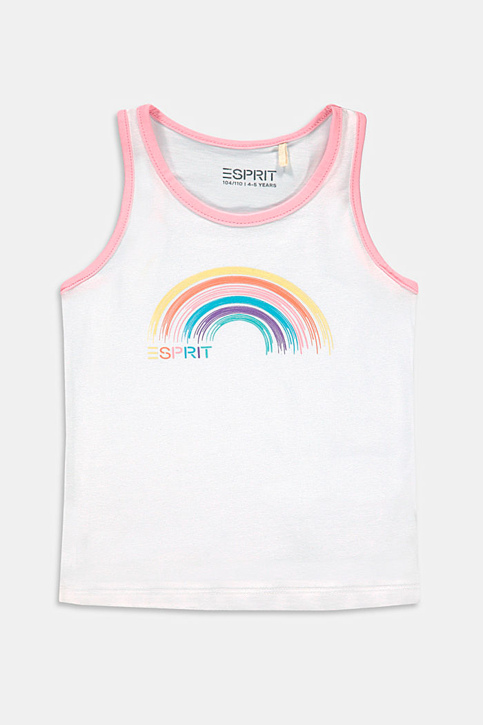 Cotton sleeveless top with a rainbow print, WHITE, detail image number 0