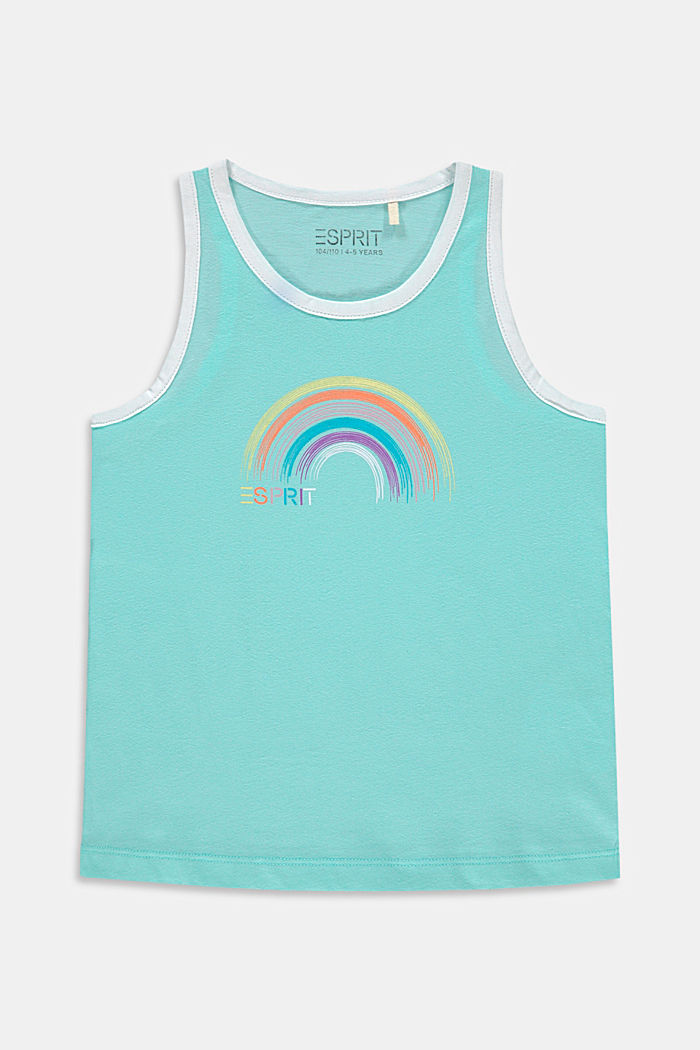 Cotton sleeveless top with a rainbow print, LIGHT TURQUOISE, detail image number 0