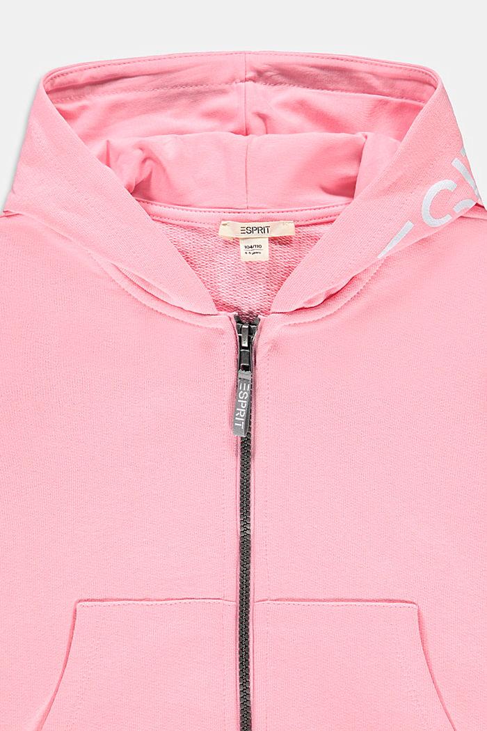 Sweat à capuche et imprimé logo, 100% coton, LIGHT PINK, detail image number 2