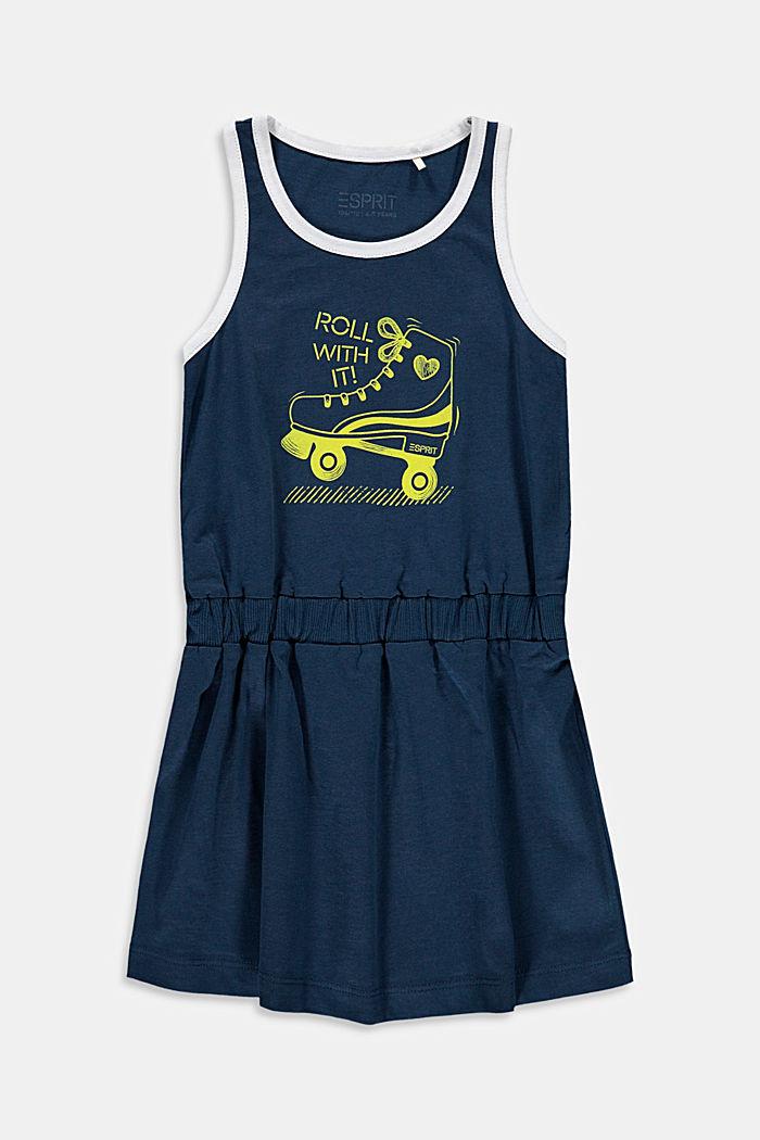 Roller skate print jersey dress, PETROL BLUE, detail image number 0