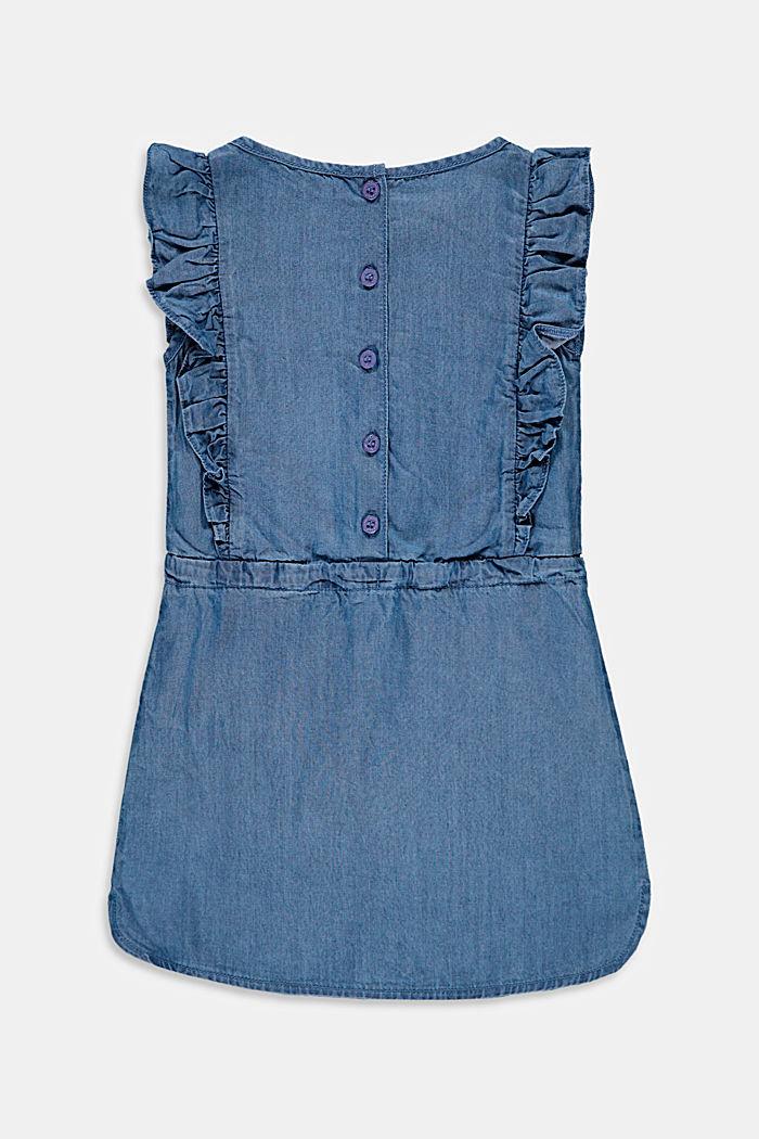 Aus Lyocell: Kleid im Denim-Look mit Rüschen