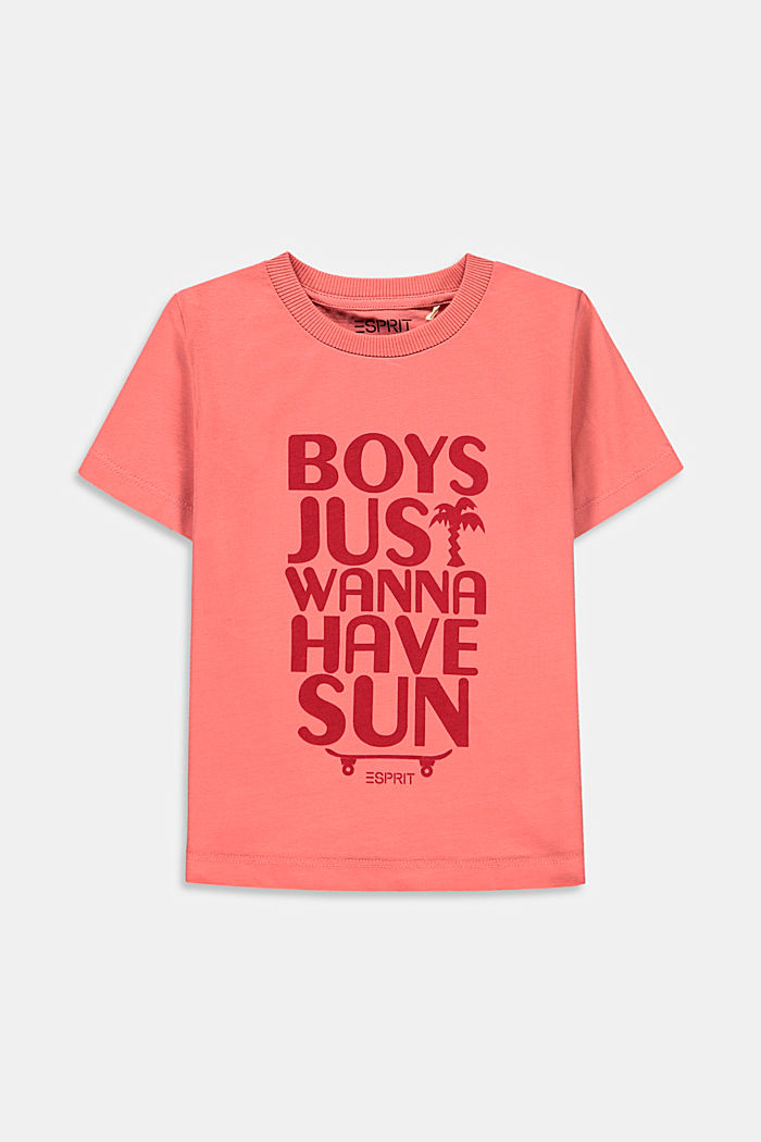 T-shirt à inscription, 100% coton, DARK OLD PINK, detail image number 0