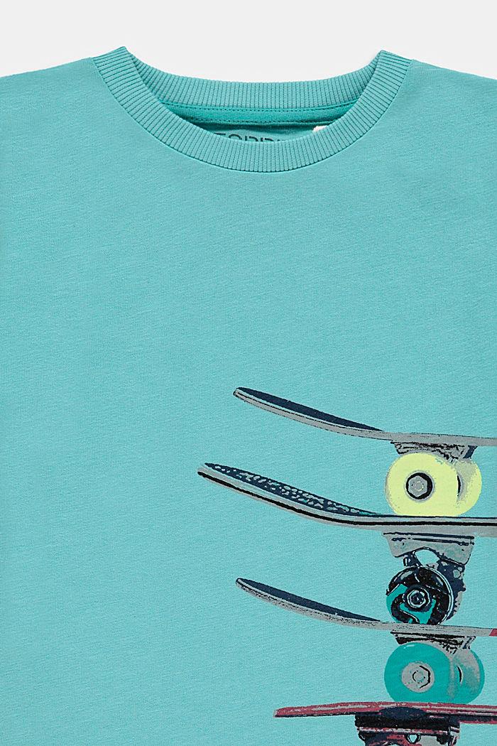 T-shirt met skateboardprint, 100% katoen, TEAL BLUE, detail image number 2