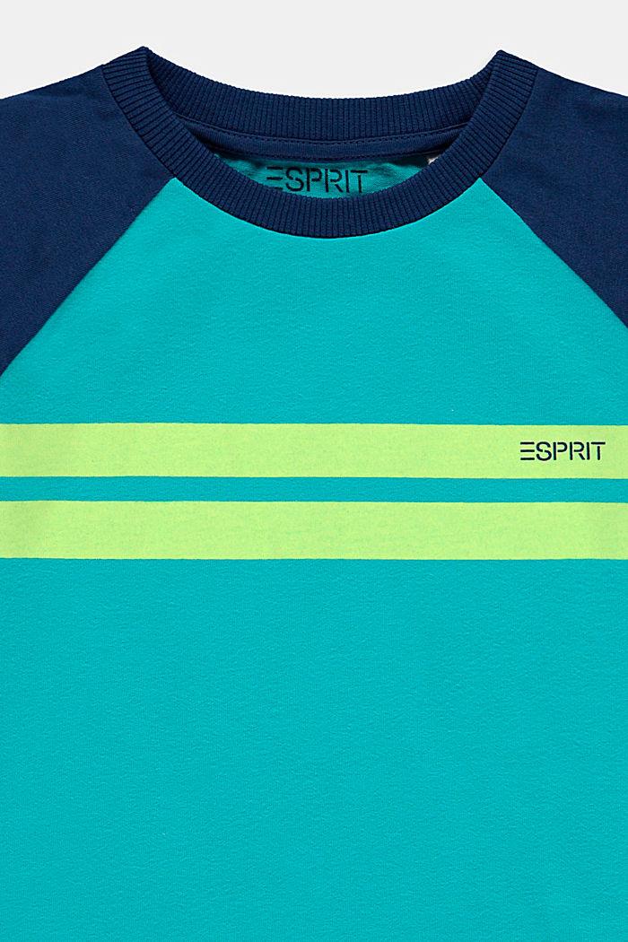 T-shirt met colour block van 100% katoen, DARK TURQUOISE, detail image number 2