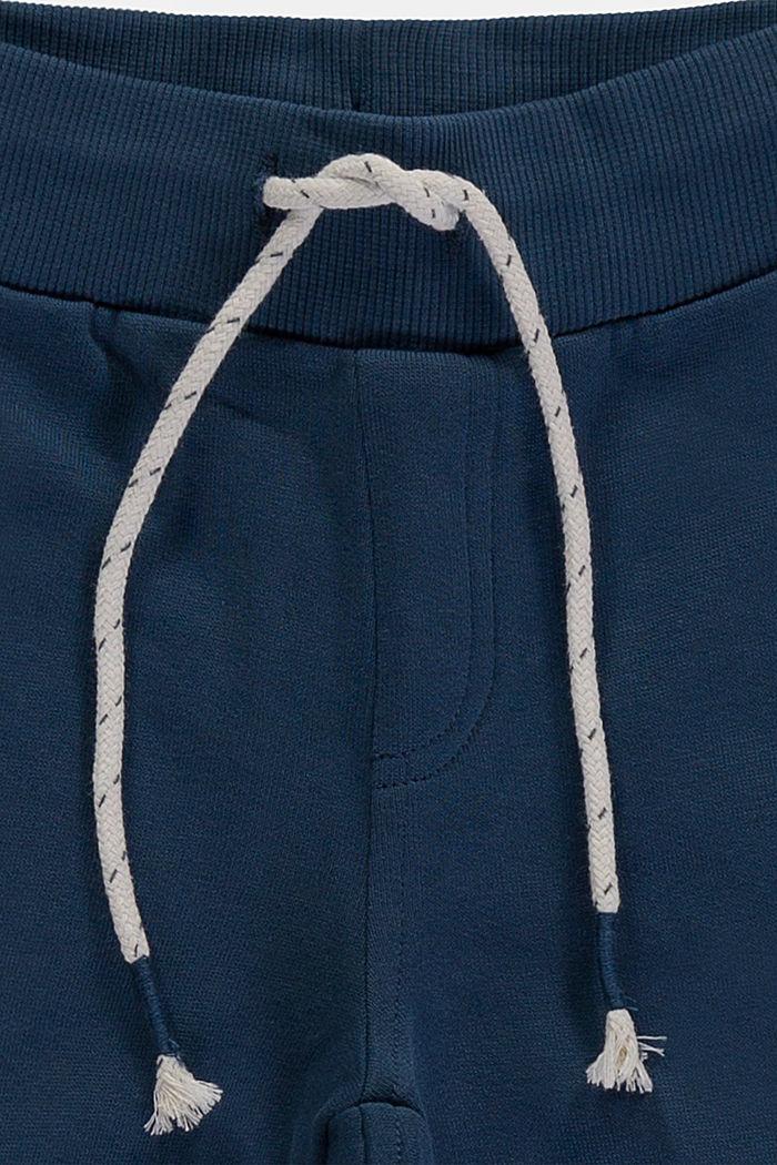 Sweatbroek met strepen opzij, 100% katoen, PETROL BLUE, detail image number 2