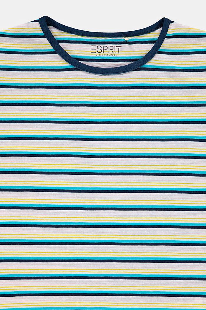 T-shirt w paski, 100% bawełny, PETROL BLUE, detail image number 2