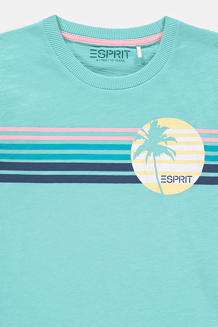 T-shirt con stampa e orli arrotolati, LIGHT TURQUOISE, detail image number 2