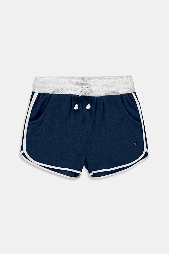 Pantalón corto de felpa en 100 % algodón, PETROL BLUE, detail image number 0