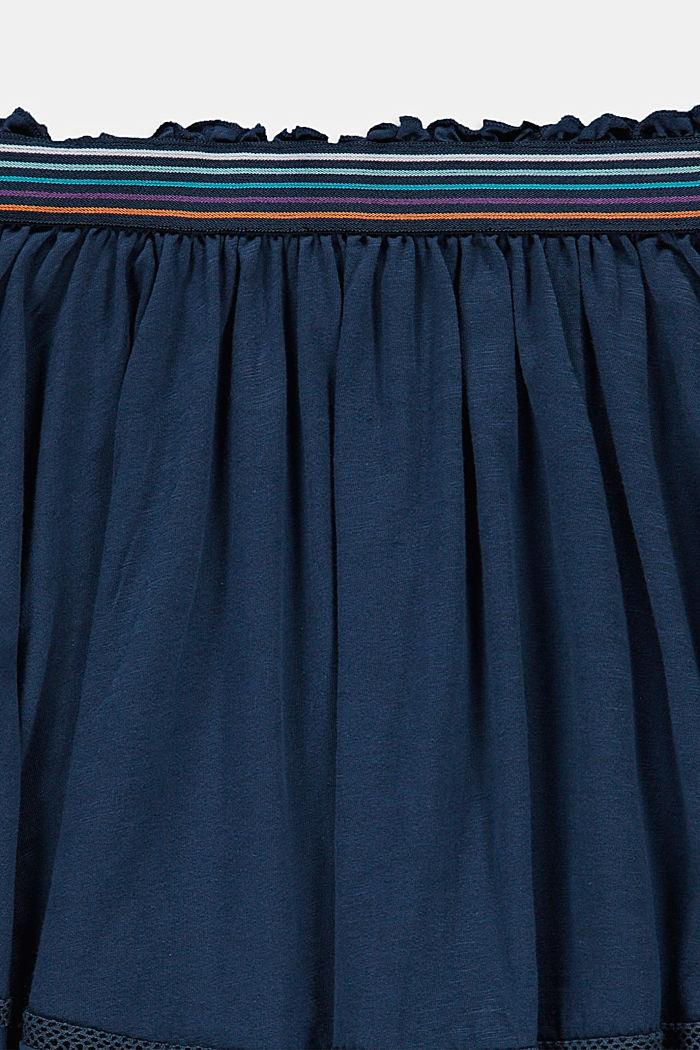 Jupe longueur midi en jersey, ornée de dentelle crochetée, PETROL BLUE, detail image number 2