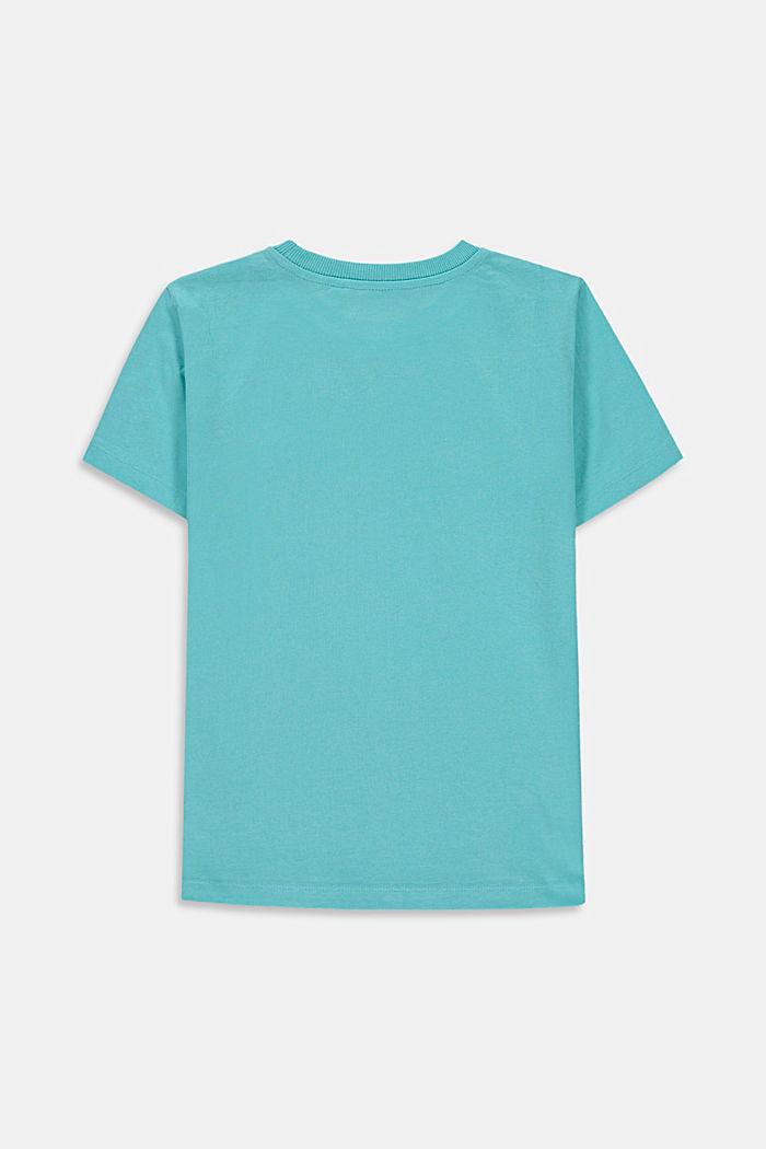 T-shirt met print, 100% katoen, TEAL BLUE, detail image number 1