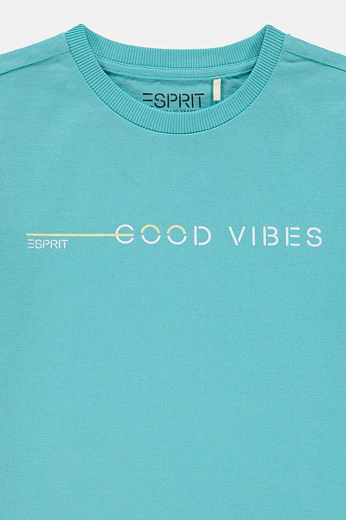 T-shirt met print, 100% katoen, TEAL BLUE, detail image number 2