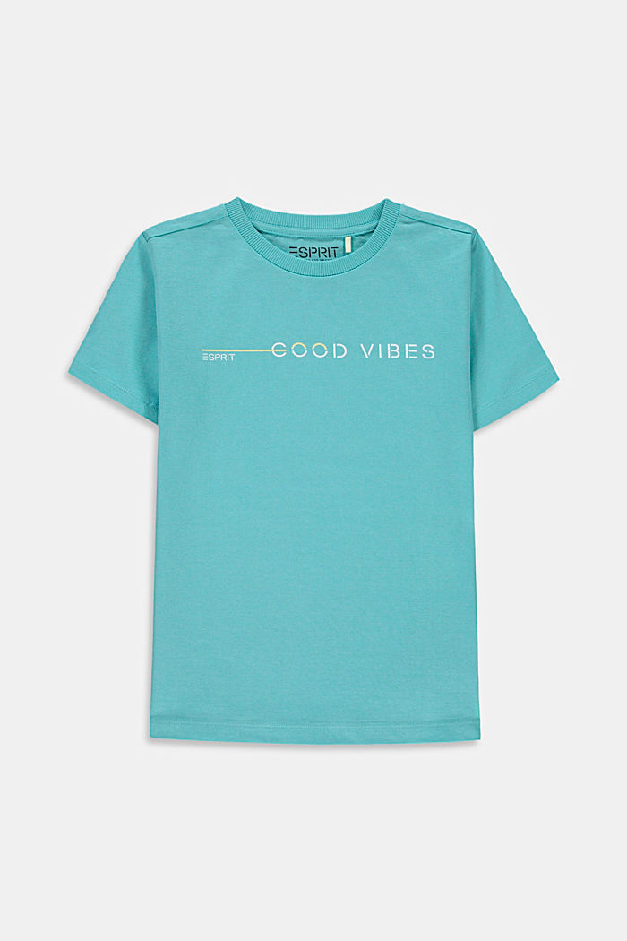 T-shirt met print, 100% katoen, TEAL BLUE, detail image number 0
