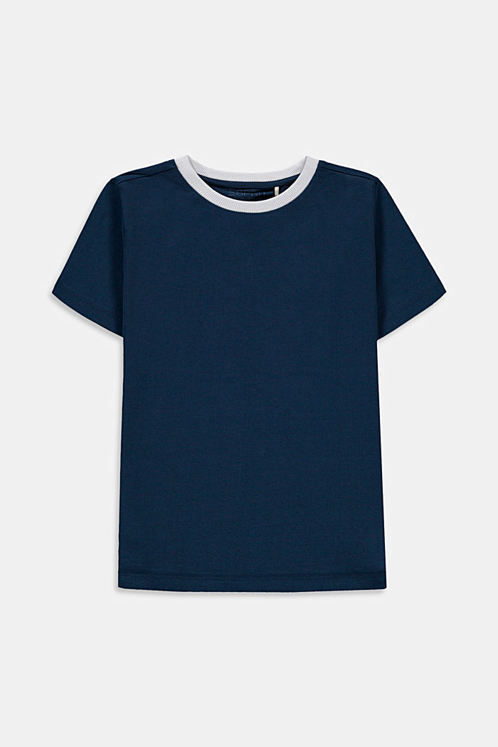 T-shirt met print op de rug, 100% katoen, PETROL BLUE, detail image number 0