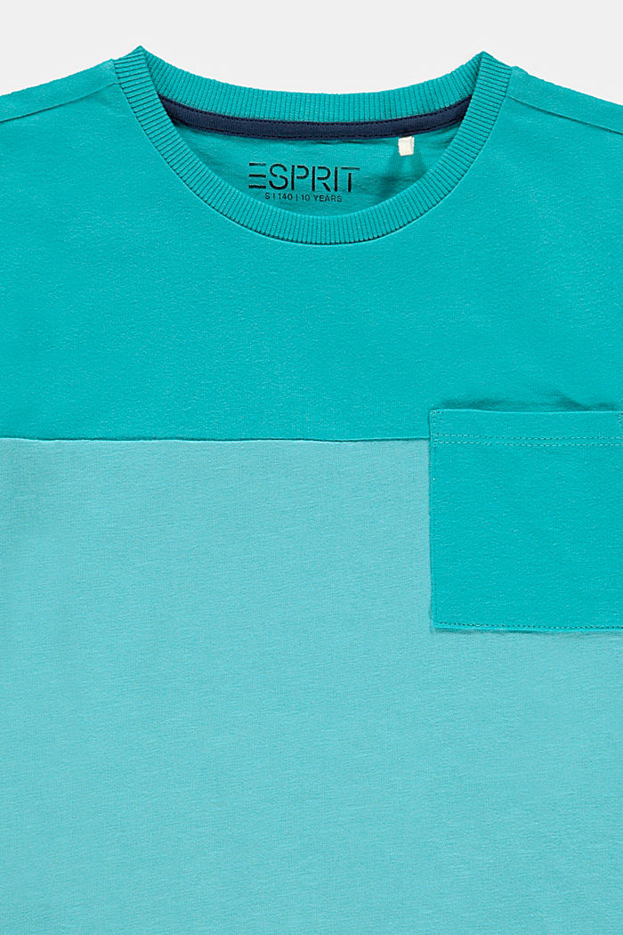 T-Shirt mit Color Block, 100% Baumwolle, TEAL BLUE, detail image number 2