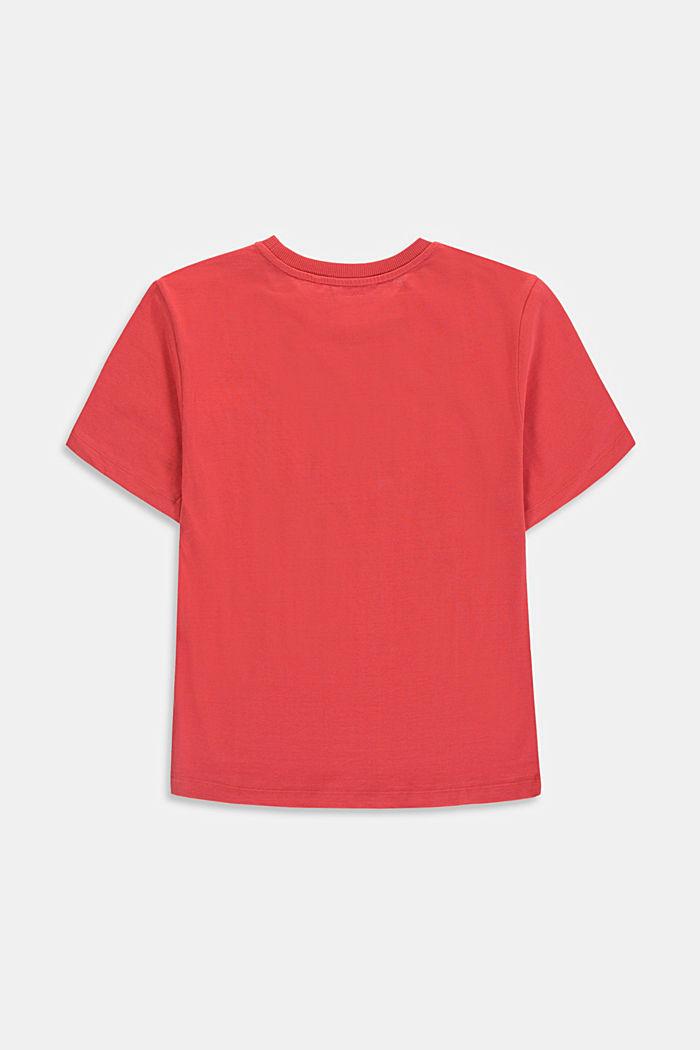 Logo print T-shirt in 100% cotton, GARNET RED, detail image number 1