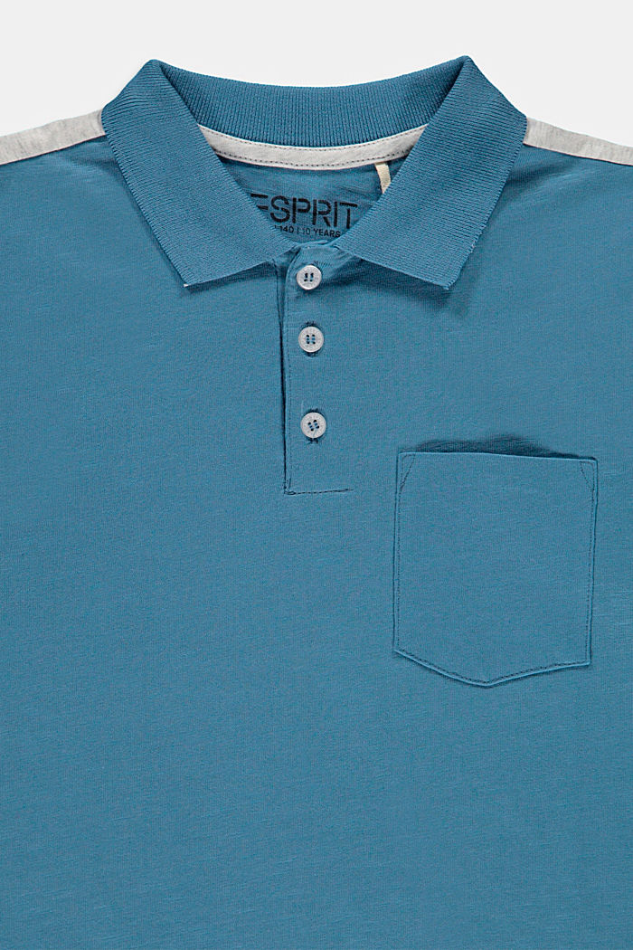 Jersey polo shirt in 100% cotton, GREY BLUE, detail image number 2