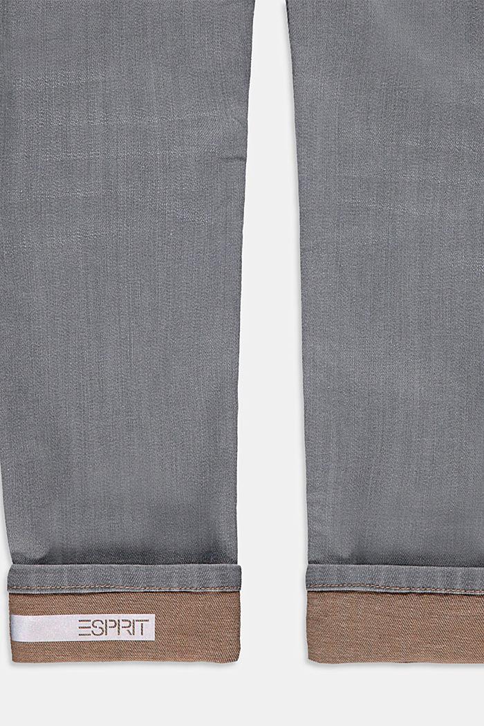 Jeans met variabele omslagen en verstelbare band, GREY DARK WASHED, detail image number 2