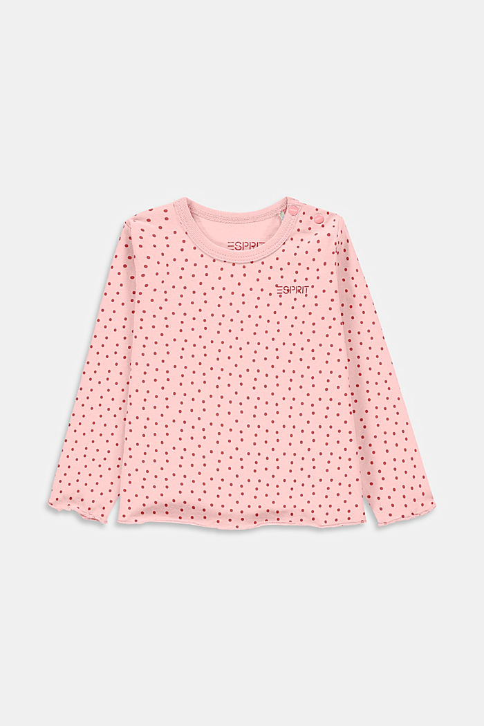 Long sleeve top with polka dots, organic cotton, PASTEL PINK, detail image number 0