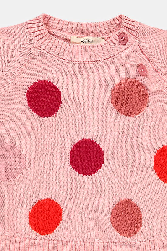 Pull-over à motif à pois intarsia, coton biologique, PASTEL PINK, detail image number 2