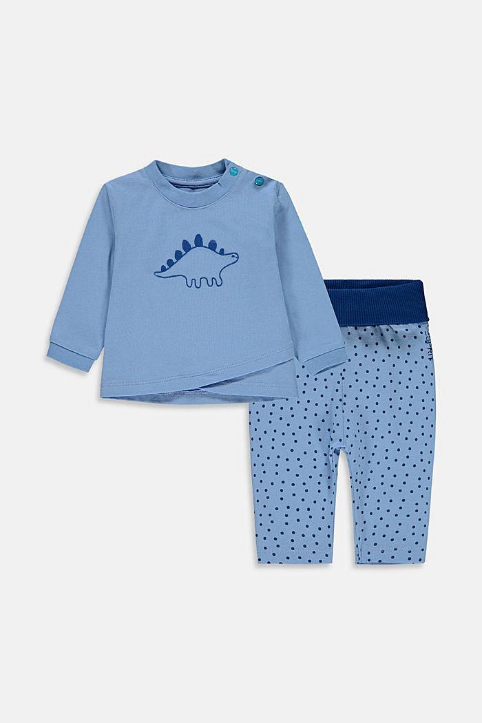 Conjunto: parte superior y pantalón de algodón ecológico, BRIGHT BLUE, detail image number 0