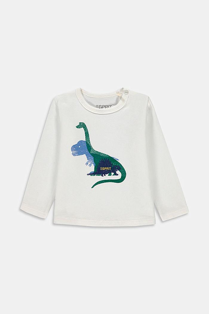 T-shirt manches longues imprimé, coton bio, SKIN BEIGE, detail image number 0