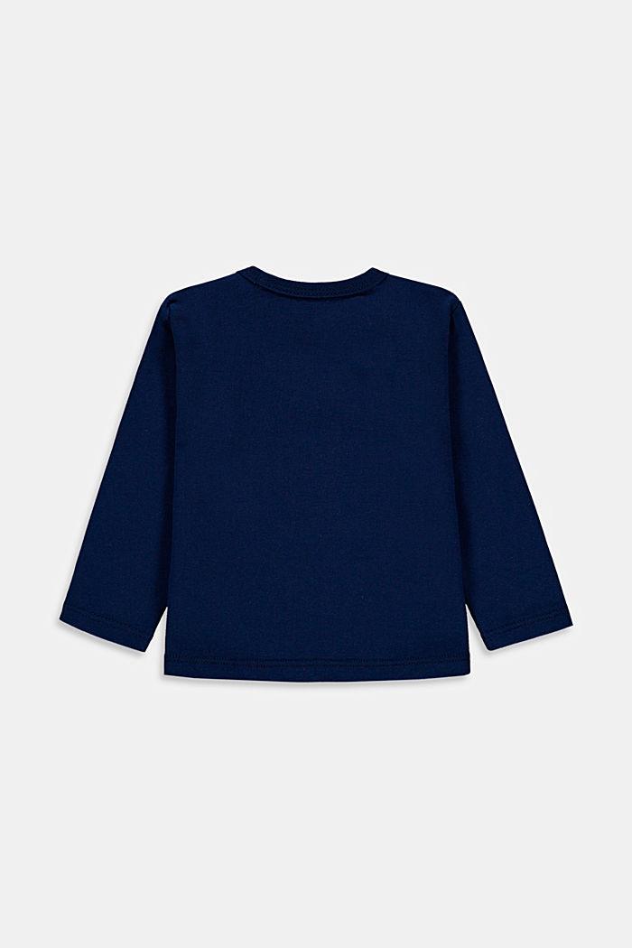 Maglia a maniche lunghe con stampa, cotone biologico, BLUE, detail image number 1