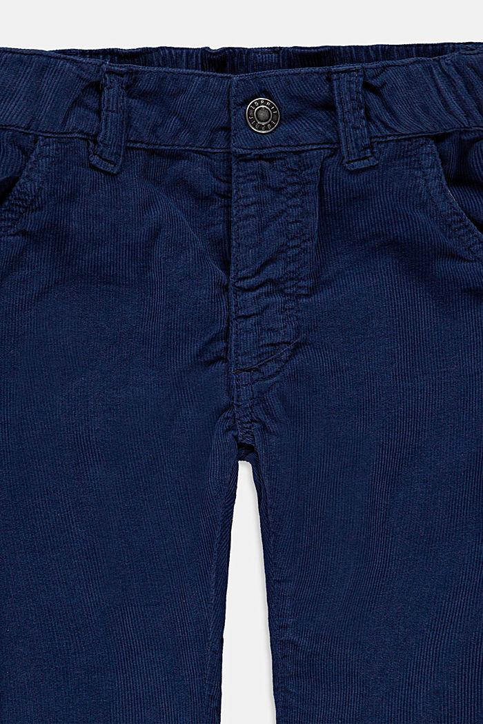 Puuvillasta valmistetut samettihousut, joissa säädettävä vyötärö, BLUE, detail image number 2