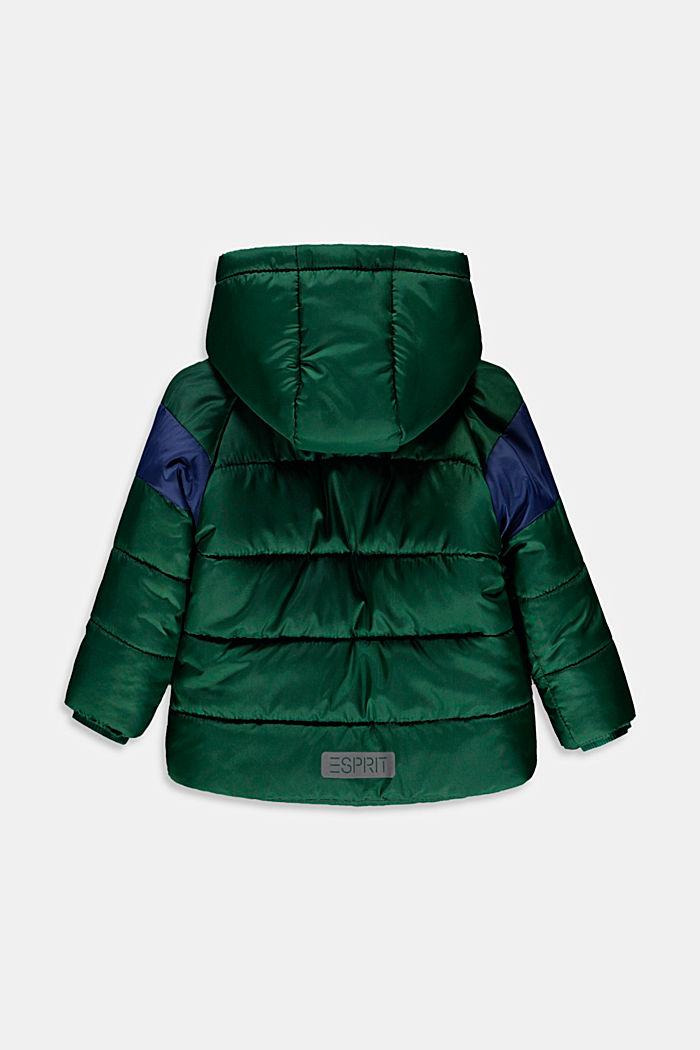 Gewatteerde jas met fleece voering en capuchon, BOTTLE GREEN, detail image number 1